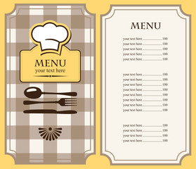 menu with chef's hat and cutlery