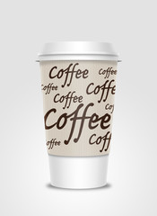 Coffee cup with label