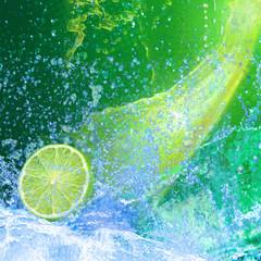 Poster Eclaboussures d eau CITRON VERT
