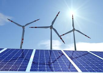 Windräder mit Solaranlagen und Sonnenschein
