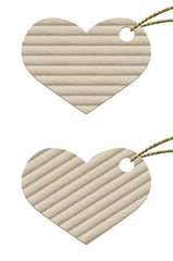 Heart. Cardboard tag with rope from natural materials.