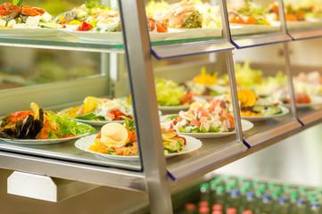 Cafeteria self service display food fresh salad