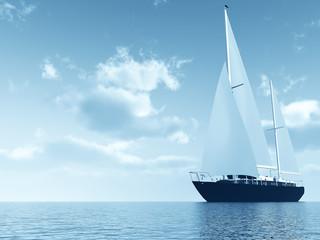 sailing vessel travelling on ocean against of blue sky
