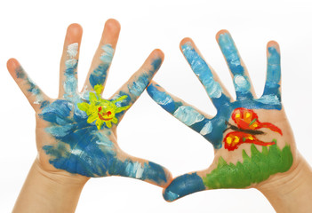 Child Hand Painted on spring background