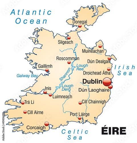Irland Karte.Karte Von Irland Mit Gewassernetz Und Hauptstadten Stock
