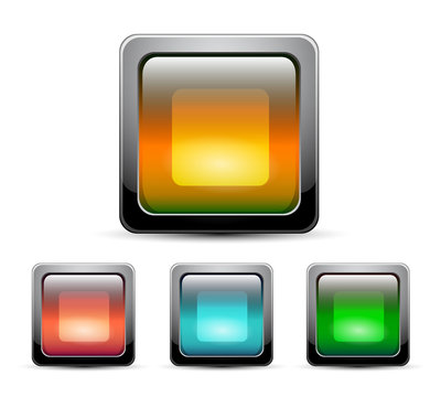 Vector glass square buttons