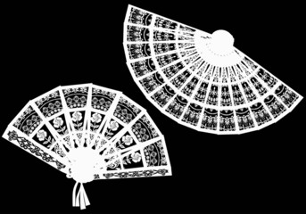 two white  decorated fan silhouettes