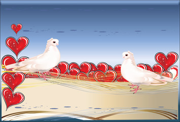 two white doves and red hearts