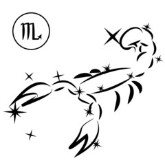Scorpio/Lovely zodiac sign silhouette formed by stars isolated