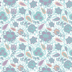 floral and paisley elements fantasy seamless pattern