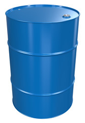 Oil Barrel. Blue Oil Barrel, Metal Lid. Isolated.