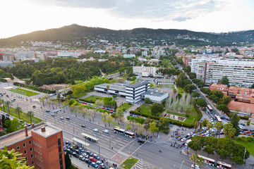 avenue Diagonal and Pedralbes Royal Palace in Barcelona