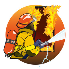 Photo sur cadre textile Super heros Firefighter