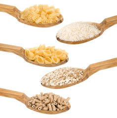 pasta and rice in wooden spoon isolated