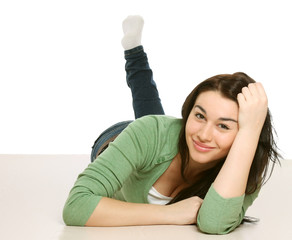 A college girl lying on the floor