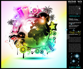 Music Club background for disco dance international event
