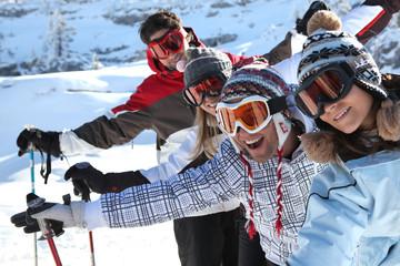Friends on the ski slopes