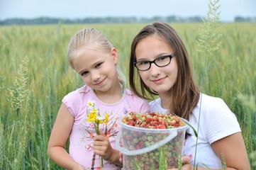 Юные девушки на поле. Ведро ягод.