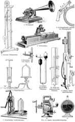 Various physical devices for the experiments and tests.