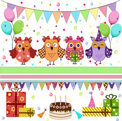 Photo sur Plexiglas Hibou Birthday party owls set