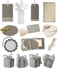 collection of gray notes, tags and gifts