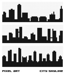 Pixel Art City Skyline