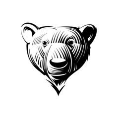Head bear, engraving  style illustration