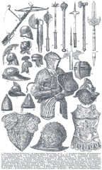 Knightly armor and weapons.