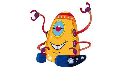Spoed Foto op Canvas Robots Cartoon Robot, outer space set (illustration)