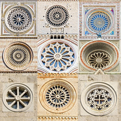 Fototapete - Collage. Fragments of decoration. Traditional rose window.