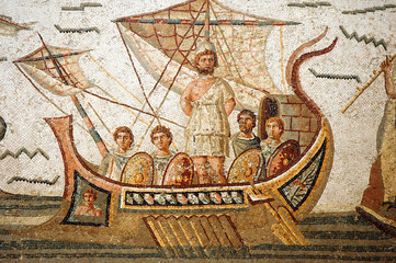 Canvas Prints Tunisia Mosaic scene from Homer's Odyssey in Bardo Museum, Tunisia