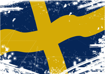 Flag of Sweden with scratches