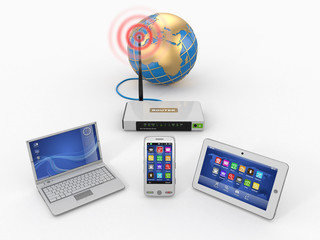 Home wifi network. Internet via router on phone, laptop and tabl