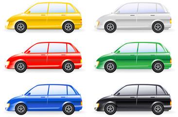 transport set of colorfull isolated modern cars model