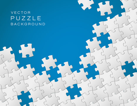 Vector blue background made from white puzzle pieces