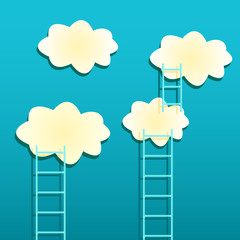 Photo sur Aluminium Ciel Yellow Clouds with Ladders on Green Background