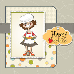 birthday greeting card with funny woman and pie