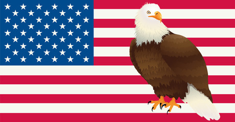 US banner with bald Eagle