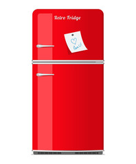 Red retro fridge with paper note. Vector illustration.