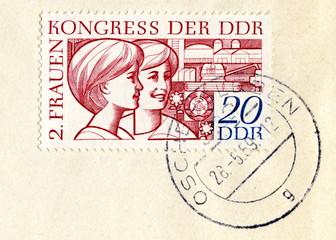"Canceled german stamp ""2. Women's congress of GDR"""