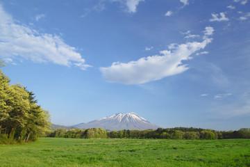 草原と岩手山