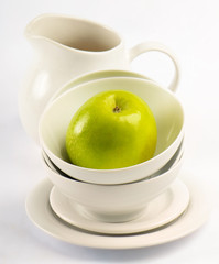 Healthy food - green apple  and Germinated Wheat seeds