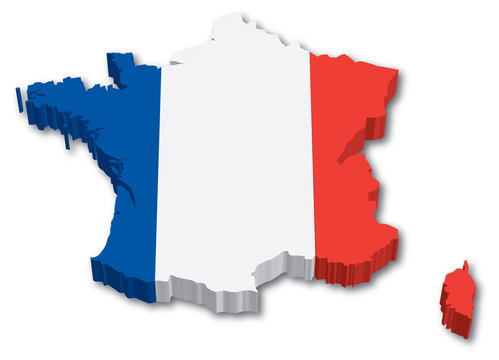 3D France map with flag