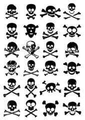 Skulls & Crossbones vector collection in white background