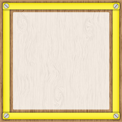 Wooden board and  tracing paper in yellow frame.