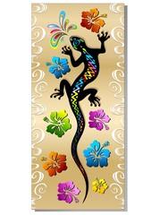 Geco Rettile Tatuaggio e Hibiscus Design Gecko Tattoo-Banner
