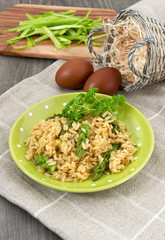 vegetarian risotto with green asparagus