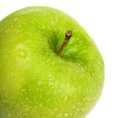 fresh green apple isolated on white close-up