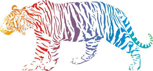 Tiger - vector abstract rainbow