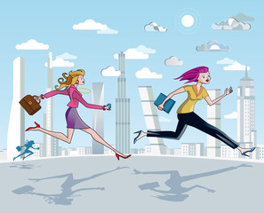 Businesswomen Running And Skyscrapers